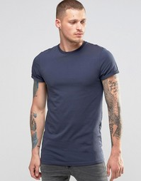 Синяя облегающая футболка с отворотами на рукавах ASOS - Синяя тень