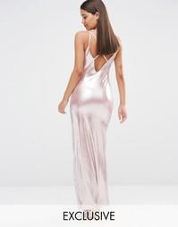 Розово-золотистое платье макси металлик с разрезом до бедра NaaNaa