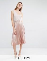 Плиссированная юбка миди True Violet - Розовое золото