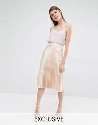 Плиссированная юбка миди True Violet - Светло-золотой атлас