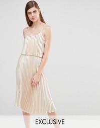 Платье миди 2 в 1 True Violet - Светло-золотой атлас