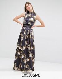 Пышная атласная юбка True Violet - Черный разноцветный цветочный