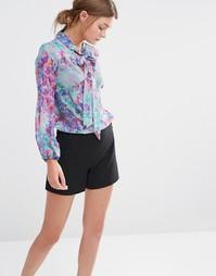 Блузка с длинными рукавами, бантиком и цветочным принтом Closet