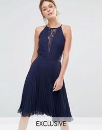 Плиссированное платье миди с кружевной вставкой Elise Ryan