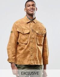 Рубашка навыпуск с камуфляжным принтом Reclaimed Vintage - Оранжевый