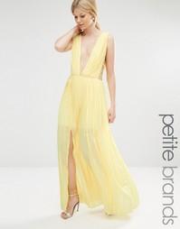 Плиссированное платье макси с лямками по бокам Boohoo Petite - Желтый