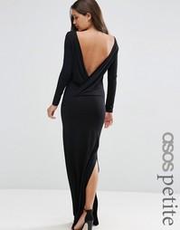 Платье макси с длинными рукавами и открытой спинкой ASOS PETITE