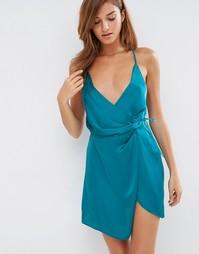 Атласное платье-сорочка мини ASOS - Сине-зеленый