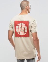 Удлиненная футболка с принтом в стиле милитари ASOS - Blonde