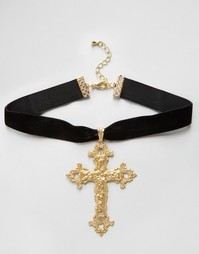 Ожерелье с крестом в стиле барокко Rock N Rose Gabrielle - Черный