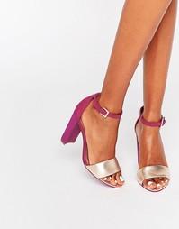 Розовые сандалии цвета металлик на блочном каблуке Ted Baker