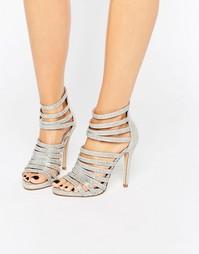 Серебристые босоножки на каблуке с отделкой в виде решетки Faith