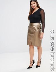 Elvi Embellished Leather Look Pencil Skirt - Золотой