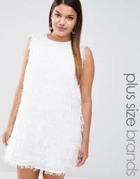 Цельнокройное платье с отделкой перьями Elvi - Белый