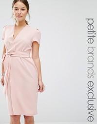 Платье с запахом и поясом Alter Petite - Blush