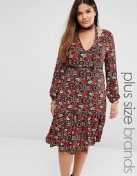 Платье миди с цветочным принтом и завязкой у горловины Alice & You