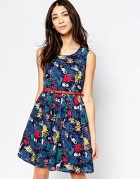 Приталенное платье с цветочным принтом Yumi - Темно-синий