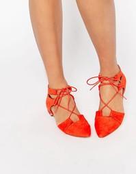Балетки со шнуровкой и острым носком ASOS LETS PLAY - Красный
