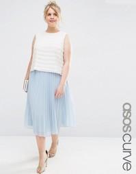 Плиссированная юбка миди ASOS CURVE - Синий