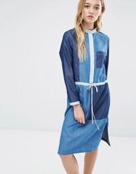 Джинсовое платье-рубашка с заплатками Neon Rose - Деним