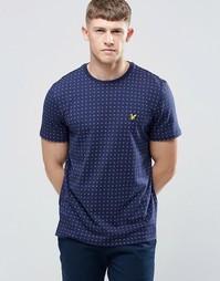 Темно-синяя футболка с принтом в квадратный горошек Lyle & Scott