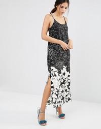 Tрапециевидное черно-белое платье макси с цветочным узором Daisy Stree