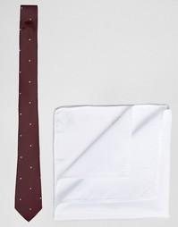 Галстук в горошек и белый платок для нагрудного кармана ASOS - СКИДКА