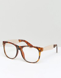 Квадратные очки с прозрачными стеклами Jeepers Peepers - Коричневый