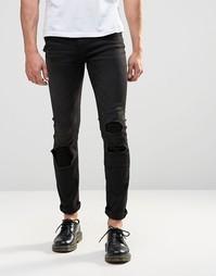 Черные облегающие джинсы скинни с заплатками Cheap Monday