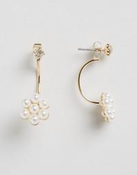 Серьги-подвески с цветком и искусственным жемчугом ASOS - Золотой