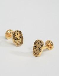 Золотистые запонки с хрусталем Noose & Monkey - Золотой