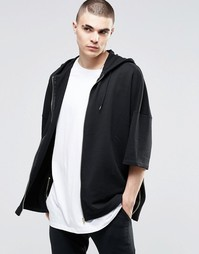 Oversize-кимоно с капюшоном и молниями по бокам ASOS - Черный