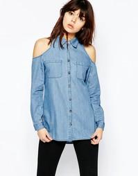 Джинсовая выбеленная рубашка с открытыми плечами ASOS