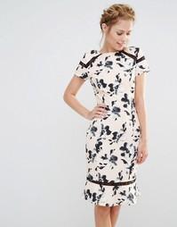 Платье с цветочным принтом и кружевной вставкой Paper Dolls
