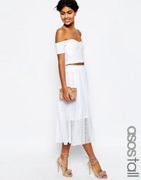Кружевная плиссированная юбка миди ASOS TALL - Белый