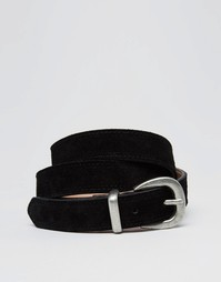 Кожаный ремень с металлической отделкой Pieces - Черный