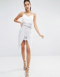 Платье на тонких бретельках с завязкой спереди Parallel Lines - Белый