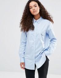 Рубашка с вышивкой YMC - Светло-голубой