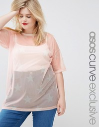 Длинная футболка с принтом ASOS CURVE - Blush