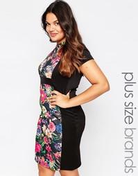 Платье с цветочной вставкой Praslin Plus Illusion - Черный