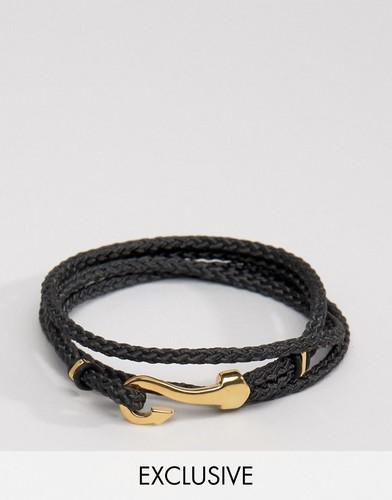 Черный браслет с крюком Seven London эксклюзивно для ASOS - Черный