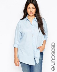 Голубая рубашка бойфренда ASOS CURVE - Небесно-голубой