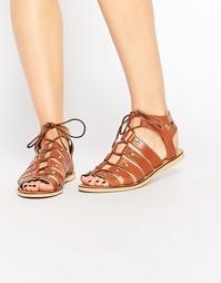 Кожаные сандалии-гладиаторы London Rebel - Светло-коричневая кожа