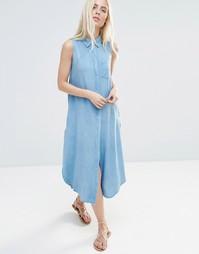 Свободное джинсовое платье-рубашка QED London - Синий