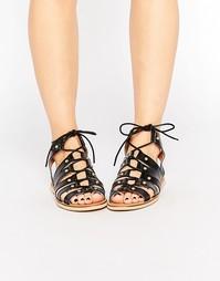 Кожаные сандалии-гладиаторы London Rebel - Черная кожа