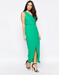 Платье на одно плечо с разрезом VLabel Herne - Зеленый