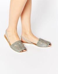 Плетеные кожаные сандалии с ремешком на пятке Park Lane - Серый