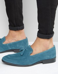 ASOS Loafers in Blue Suede With Tassel - Синий