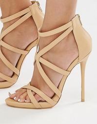 Гладиаторские сандалии на каблуке с ремешками Missguided - Телесный