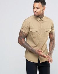 Светло-бежевая рубашка в стиле милитари с короткими рукавами ASOS